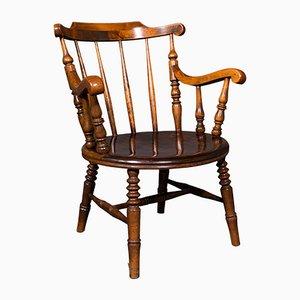 Antique English Victorian Beech Fireside Elbow Chair, 1890s