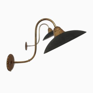 Antique Brass and Mercury Glass Swan Neck Wall Light