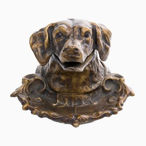 Brass Figurative Inkwell in Shape of a Dog