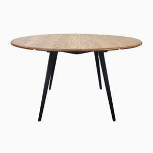 Round Black Leg Dining Table by Lucian Ercolani for Ercol