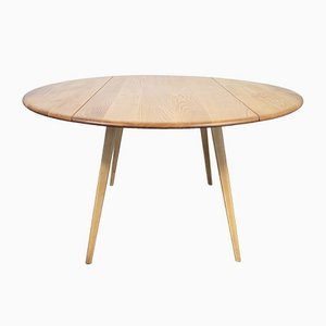 Round Drop Leaf Dining Table by Lucian Ercolani for Ercol