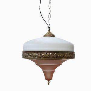Lámpara colgante francesa antigua de vidrio opalino y rosa