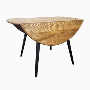 Round Black Leg Drop Leaf Dining Table by Lucian Ercolani for Ercol