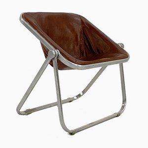 Kamelbrauner Plona Stuhl aus Leder von Giancarlo Piretti für Castelli, 1970er