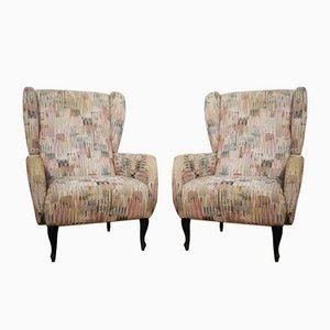 Vintage Beige Fabric Armchairs, Set of 2