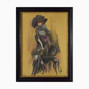 Giovanni Frattini, Retrato de Luisa Casati, Tempera sobre papel, Enmarcado