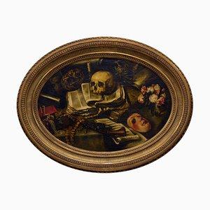 Bodegón con calavera, óleo sobre tablilla, enmarcado