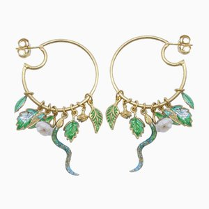 Fire Enamel, Coral & 24 Karat Gold-Plated Silver Creole Earrings, Set of 2