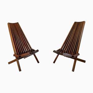 Mid-Century Scandinavian Folding Teak Chairs, Set of 2
