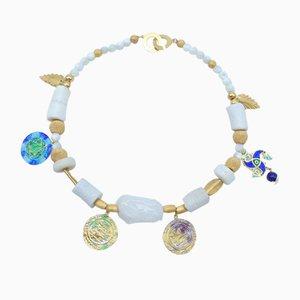 Perlen Halskette mit Vergoldung, Feuer Emaille, Perlen, Quarz & Lapislazuli