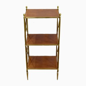 Small Brass Shelving with 3 Trays from Maison Jansen, 1970s