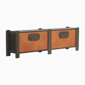 Sideboard with Cognac Leather Doors, 1970s