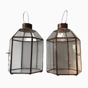 Brass and Crystal Table Lanterns, Set of 2