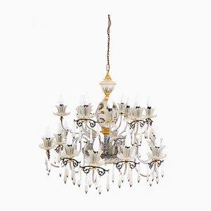 Lámparas de araña estilo Belle Epoque venecianas grandes de vidrio y 24 bombillas, años 70. Juego de 2