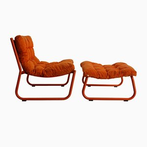 Lounge Chair with Table and Ottoman in Orange from Cor, 1970s, Set of 3