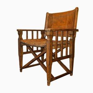 Safari Stuhl aus patiniertem Leder mit Messing Details