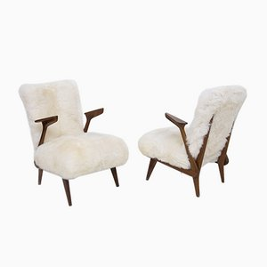 Italian Fur Armchairs Attributed to Giuseppe Scapinelli, Set of 2