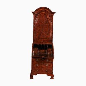 Secreter pequeño de madera nudosa de nogal con cúpula, siglo XVIII