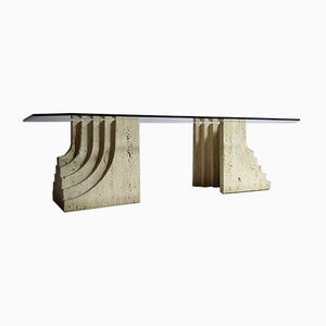 Travertine Coffee Table in the Style of Scarpa