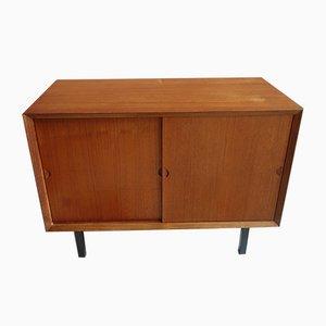 Danish Teak Sliding Door Cabinet or Sideboard, 1960s
