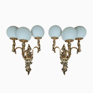 Vintage Rocaille Wandlampen mit Vergoldeten Bronze Putten, 2er Set