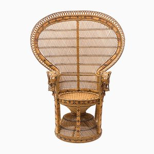 Emmanuelle Peacock Wicker Chair, 1960s, Italy