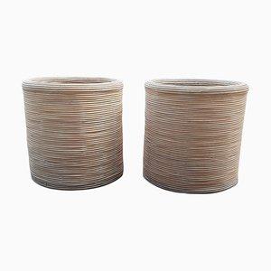 Maceteros grandes de madera natural y bambú, años 80. Juego de 2