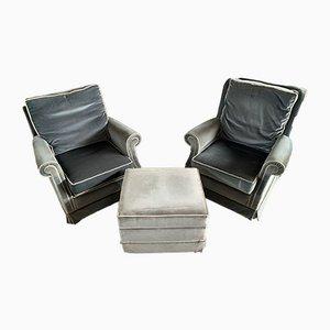 Englische Vintage Sessel mit Pouf, 3er Set