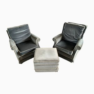 Vintage English Armchairs with Pouf, Set of 3