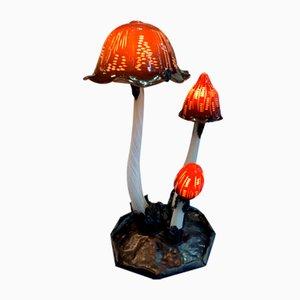 Lámpara de mesa muy grande de metal y vidrio matizado