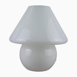 Lámpara de mesa hongo grande de vidrio opalino blanco, años 70