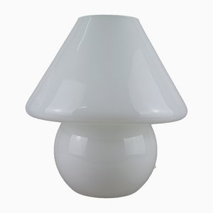 Large Mushroom Table Lamp in White Opal Glass, 1970s