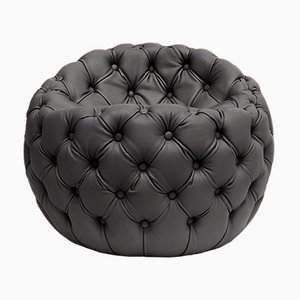 Tufted Upholstered Black Leather Dot Pouf by Claudio Cappellini for Hessentia