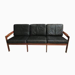 Sofá de tres plazas de cuero de Illum Wikkelsø para Niels Eilersen, años 60