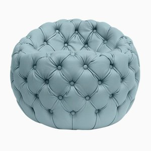 Tufted Upholstered Leather Dot Pouf, Light-Blue by Claudio Cappellini for Hessentia