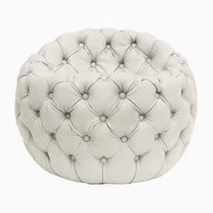Tufted Upholstered White Leather Dot Pouf by Claudio Cappellini for Hessentia