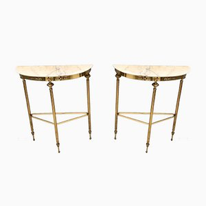 Mid-Century Console Table with Portuguese Pink Marble Top and Brass Legs, Italy
