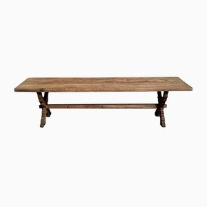 Large French Rustic Bleached Oak Farmhouse Dining Table
