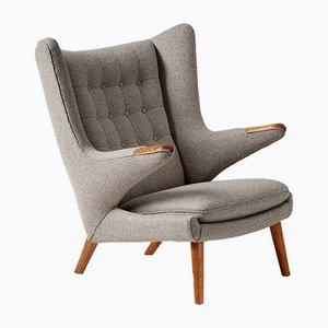 AP 19 Papa Bear Chair in Grey Wool Fabric by Hans Wegner