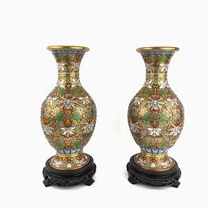 Chinesische Cloisonné Vasen mit Schwarzen Füßen, 2er Set
