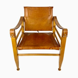 Leder Safari Stuhl von Aage Bruun & Son, Dänemark, 1960er