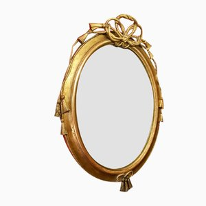 Italienischer Louis XVI Spiegel aus vergoldetem Stuckholz, 19. Jh