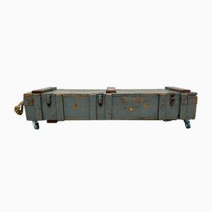 Mesa de centro industrial de madera con caja de almacenamiento