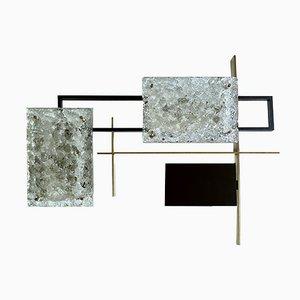 Escultura / aplique / lámpara de pared vintage de cristal de Murano y bronce, años 60