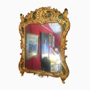 Louis XV Rocaille Mirror in Gilded & Green Lacquered Wood, 18th Century
