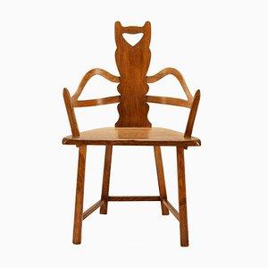 Swedish Folk Art Chair in Oak, 1900s