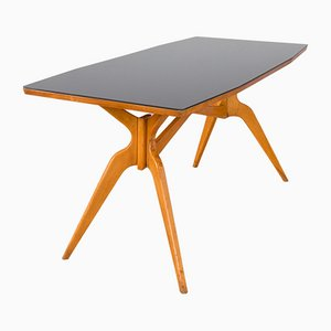 Italian Dining Table with Black Glass Top in the Style of Ico Parisi