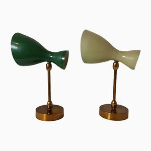 brass Double Cone Wall Sconces, Italy, 1950s, Set of 2