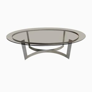 Oval Coffee Table in Smoked Glass, France, 1970s