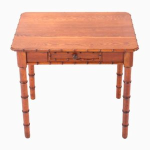 Small French Art Nouveau Faux Bamboo & Pine Writing Table, 1900s